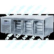 Bancada Frigo Refrigerada em Aço Inox 3 Porta Vidro